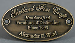 Shetland  Fine Craft - 2.5mm luxury embossed plaque displayed on all furniture/ chairs