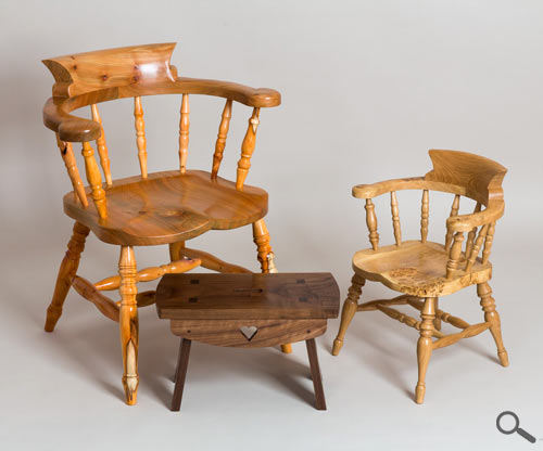Shetland  Fine Craft - Adult Smoker's Bow/Captain's Windsor Chair made from Scottish Elm and Yew, a child's Captain's Windsor chair out of English Burr Oak and a small creepie made from American Black Walnut